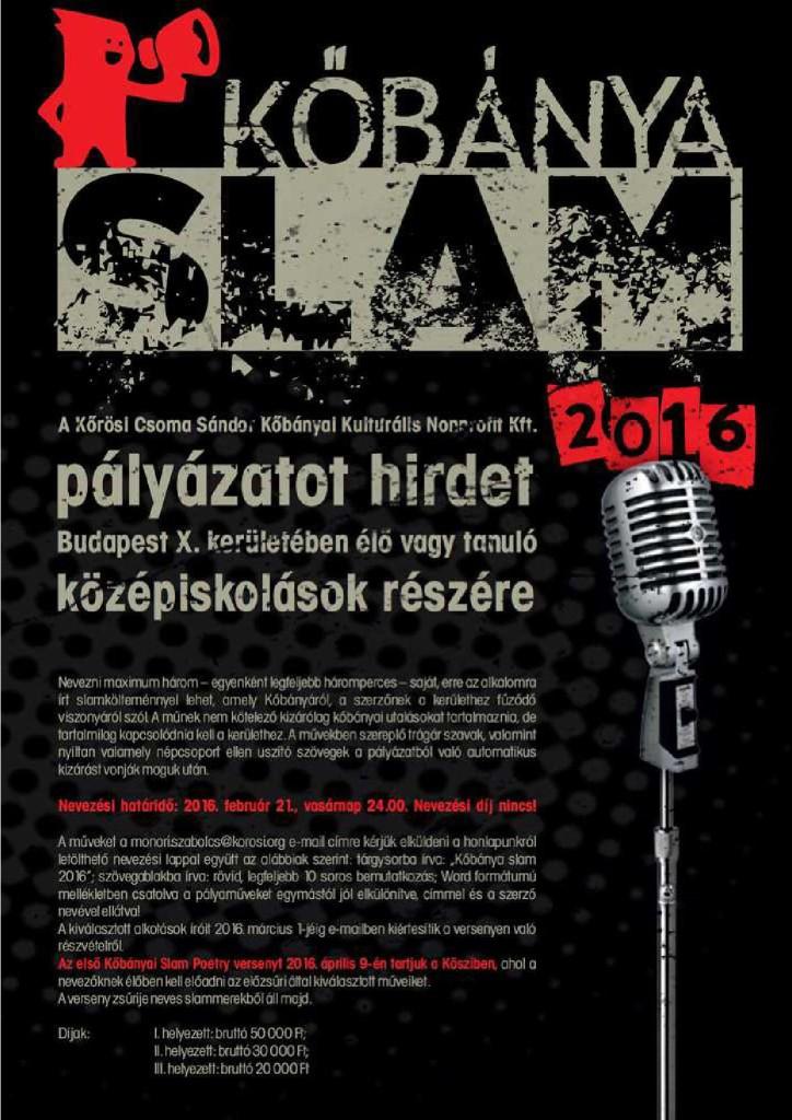 2016.01.09_Kobanya_Slam palyazat_plakat