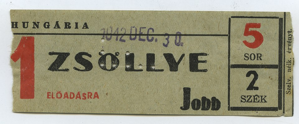 Ez a jegy nem biztos, hogy a pongráctelepi moziból van, mert ekkoriban Kispesten is működött egy Hungária mozi. Fotó: Hangosfilm.hu