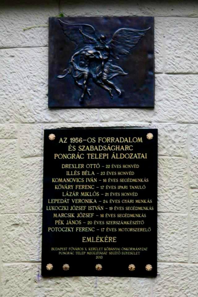 Pongráctelep 1956-os áldozatainak emléktáblája Dr. Bíró Gáspár volt pongráctelepi lakos domborművével a Pongrác Közösségi Ház (hajdani közfürdő) falán.