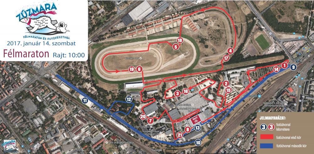 A félmaratoni táv útvonala. Forrás: futanet.hu