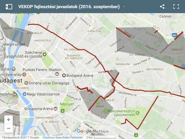 Az elfogadott VEKOP projektek szerint Kőbánya térségében fejlesztésre kerülő bicikli útvonalak. Forrás: kerekparosklub.hu