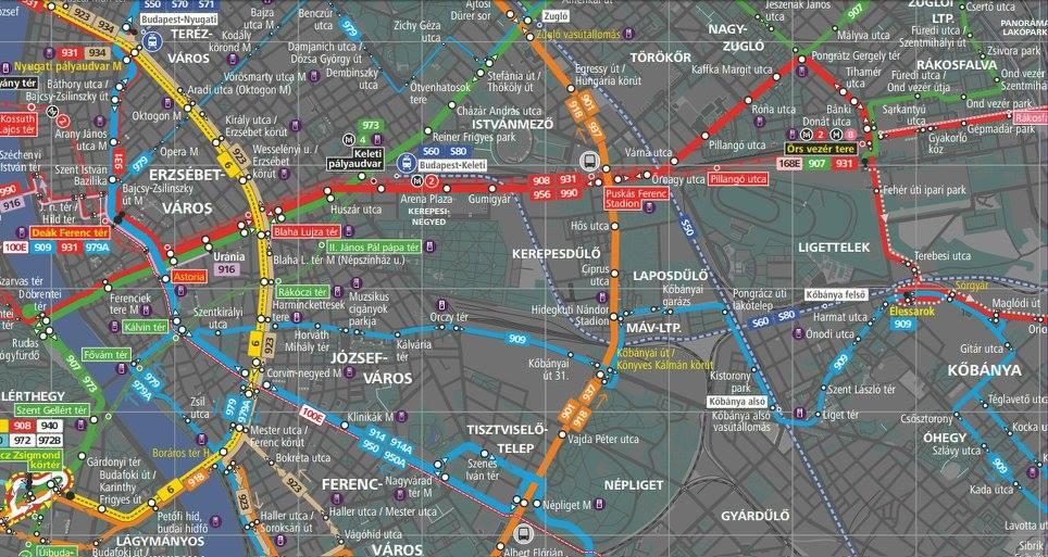 bkv térkép Új, részletgazdag térkép az éjszakai BKV járatokról – PONGRÁCTELEP